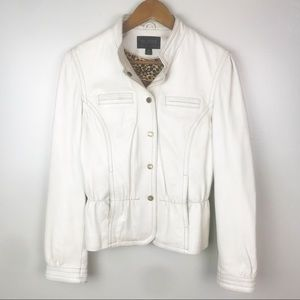 WILSON LEATHER White Jacket Snap Front Soft Lined
